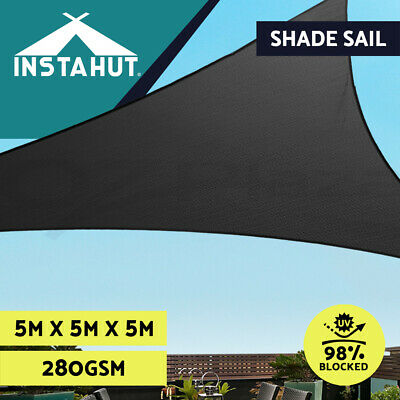Sun Shade Sail Cloth Shadecloth Outdoor Canopy Awning Triangle 280gsm 5x5x5m