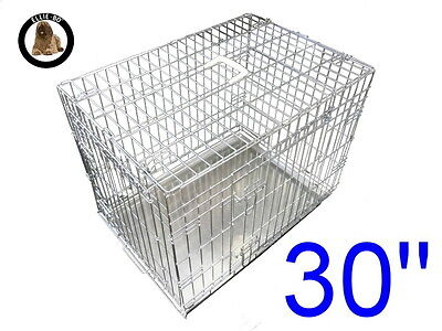 """Ellie-Bo 30"""" Medium Dog Puppy Pet Cage Folding Carrier Crate In Silver"""