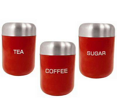 3PC Red Canisters Stainless Steel Coffee Tea Sugar Jar Air Tight Lid Storage Set