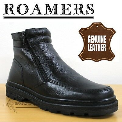 Roamers Mens Shark Ankle Boots Black Leather Twin Zip Thermal Lined Shoes