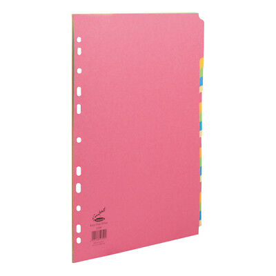 Concord Contrast Subject Dividers Europunched 20-Part Extra Wide A4 Assorted