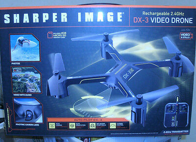 The Sharper Image Rechargeable 2.4 Ghz, DX-3, Video Drone Quadcopter 2920038 NEW