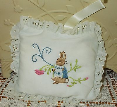 """Embroidered Peter Rabbit Musical Pillow - 6"""" By 5"""" - Eden"""