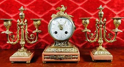 Stunning antique 19th c French gilt bronze & Marble Mantle Clock garniture Set