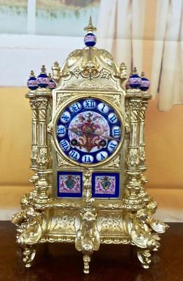 Superb antique 19th c French gilt ormolu bronze & Sevres porcelain Mantle Clock