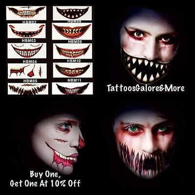 Face Mouth Tattoos, Scary Temporary Tattoos, Stage Prop Tattoos, Fancy Dress