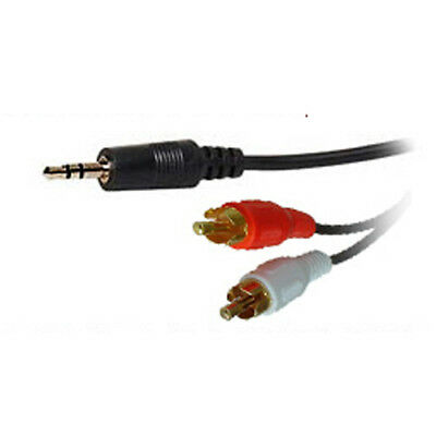 3.5mm Jack to 2 x RCA Phono Audio Cable Gold 2.5 Metre Lead