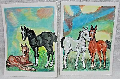 Two Horse Colt Foal 12x16 Original Old 1970s Acrylic Paintings by Wetsch FREE SH