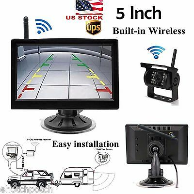 "DH Rear View Backup Wireless Camera Night Vision+5"" Monitor for RV Bus Truck Kit"
