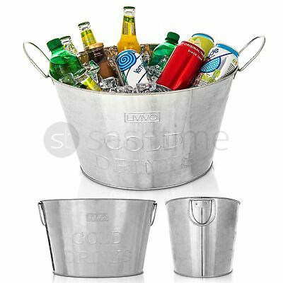 24L Galvanised Steel Oval Party Tub Beverage Drink Tub Beer Bucket Organiser