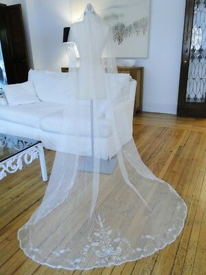 Antique Lace- Circa 1920, Brussels Priness Lace Oval Wedding Veil