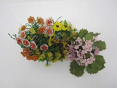 Large Lot Vintage French Hand Made Beaded Flowers Bouquets