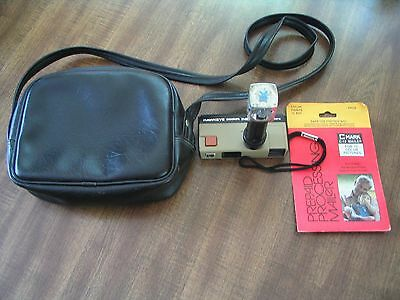 KODAK HAWKEYE POCKET INSTAMATIC CAMERA w/ BLACK LEATHER STRAP CARRYING CASE