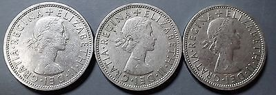 1966-67 Great Britain 2 Shilling Coins Lot Of (3) Young Queen Circulated  A865
