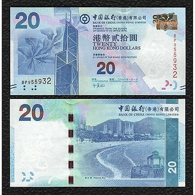 Hong Kong P-341 1.1.2010  Bank of China 20 Dollars-Crisp Uncirculated