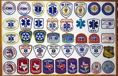 Superb Job Lot Vintage Usa Ambulance, Emt, Paramedic Patches. New York Etc