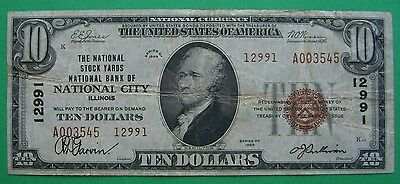1929 $10. T2 NATIONAL STOCK YARDS BANK OF NATIONAL CITY ILLINOIS IL Ch # 12991