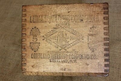 Old wood shipping box CLIMAX WELDING COMPOUND blacksmith anvil vintage 1925