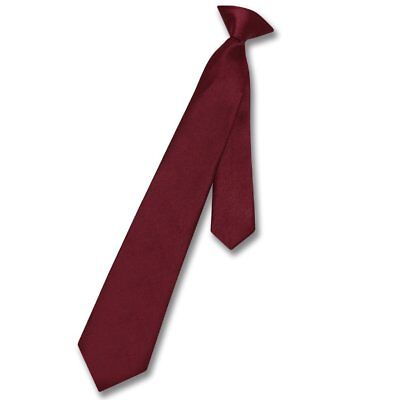 Vesuvio Napoli Boy's CLIP-ON NeckTie Solid BURGUNDY Color Youth Neck Tie