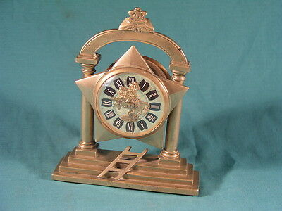 Antique Brass Mantle Clock Stamped Sons of Ulster Aughrim No 584