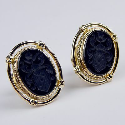 Victorian Pair of Black Onyx Seal Cufflinks Cuff Links 14 kt Yellow Gold #A1805