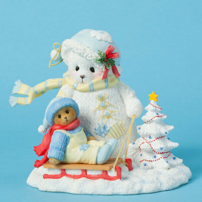 Cherished Teddies Snowbear and Bear on Sled Winter Christmas Figurine 4040468