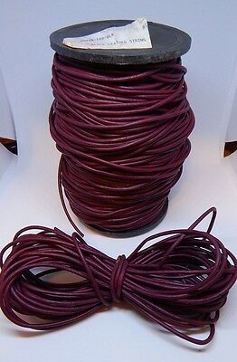 100 yards Genuine Burgundy Round Leather Cord 2.5mm Trim/Sewing/Crafts/Laceup