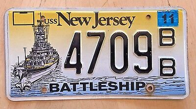 "Uss  Nj Battleship  License Plate ""  4709 Bb ""  Usn Navy Naval Annapolis Md"