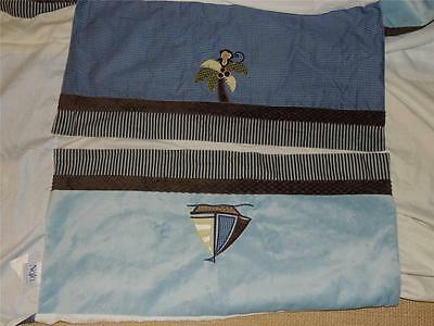 Nojo Ahoy Mate Crib Skirt Dust Ruffle Blue Nautical Boat Ships Whale Monkey
