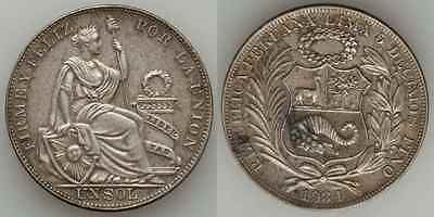 1934 Crown Size Republic of Peru Silver Coin One or Un Sol Toned Extremely Fine