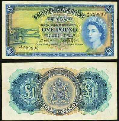 Scarce 1966 Bermuda One Pound Banknote Pick Number 20c Young Queen Elizabeth II
