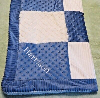 KYLE & DEENA Navy Blue Ivory minky patchwork baby blanket Personalized boys new