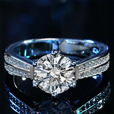 6 claw platinum engagement ring jewelry round neck suit card lady