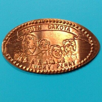 SOUTH DAKOTA LUCKY PENNY Mount Rushmore Sculpture SD Elongated 1958 Canada Penny