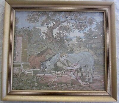 vintage french woven TAPESTRY PICTURE Boy & Horses wooden frame 54 x 48cm