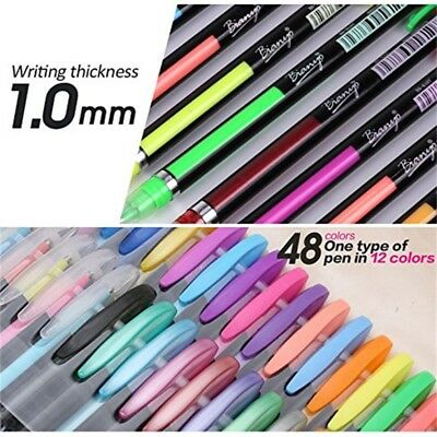 Gel Pens&Refills Rollerball Pastel Neon Glitter Sketch Drawing Color Pen 48 Set