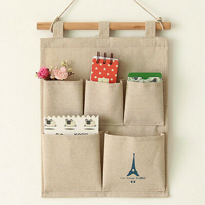 5 Pockets Storage Stuff Bags Pouch Closet Home Door Wall Hanging Organizer