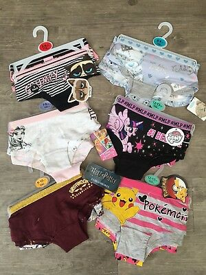 2 x Girls Pokemon My Little Pony Harry Potter Boxers Shorts Knickers Age 5 - 15