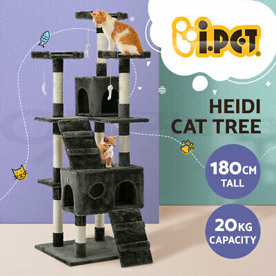 Cat Scratching Tree Post Sisal Pole Toy House Furniture Multi level Grey 180cm
