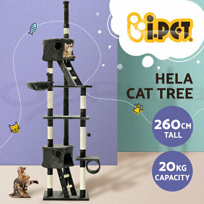 Cat Scratching Tree Post Sisal Pole Condo House Furniture Multi level Grey 260cm