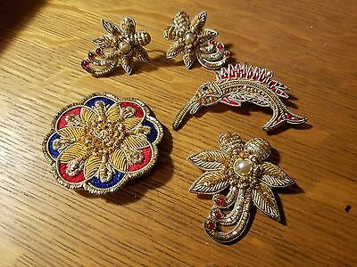 Vintage Wire/Metallic Woven Thread Patches Made into Jewelry
