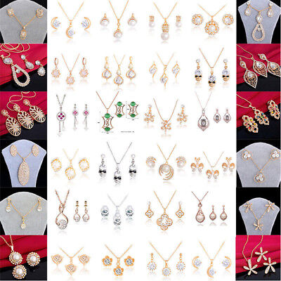 Wholesale Gold/Silver Plated Rhinestone Crystal Necklace+Earrings Jewelry Sets