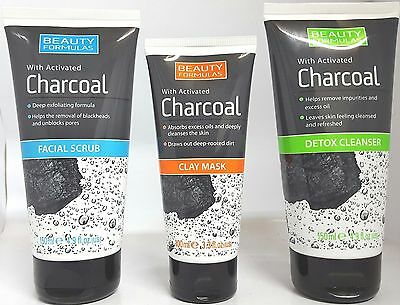 Beauty Formulas With Charcoal Face Scrub / Detox Cleanser / Clay Face Mask UK
