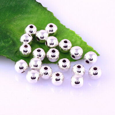 Round Ball Smooth Charm Silver Bead Metal Spacer Jewelry Finding 6mm Wholesale