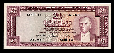 Turkey 2 1/2 lira 1957 P-152 UNC