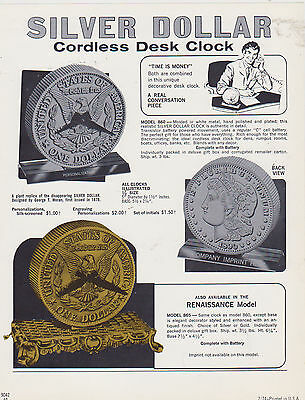 VINTAGE AD SHEET #2348 - 1970s SILVER DOLLAR CORDLESS DESK CLOCKS