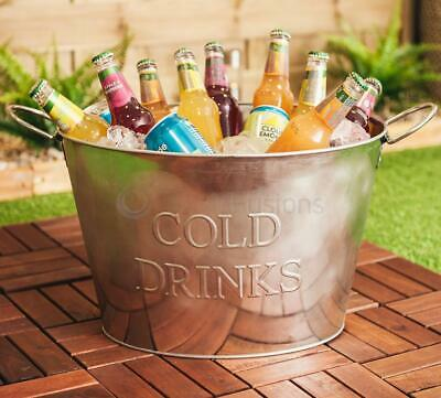 24L Cold Drinks Galvanised Steel Oval Tub Beverage Beer Lager Outdoor Ice Bucket
