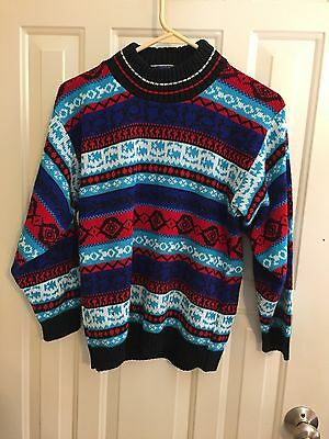 vintage red white & blue patterned sweater size S 1980s 1990s