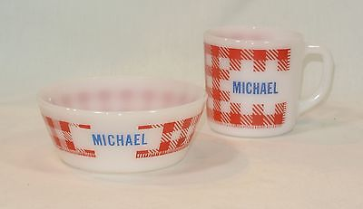 Vintage MICHAEL Glass MUG and BOWL Red Checkered Personalized Westfield