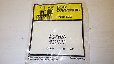Philips Ecg 5138A 25V+5% 5W Band Is K Zener Diode Nib